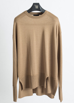 [Wool 100%] Slit Oversized Crew Neck Sweater- latte beige