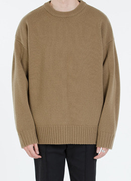 [Wool 100%] Heavy slit over fit sweater