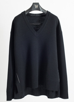 [WOOL 100%] White line slit vneck sweater 2 color