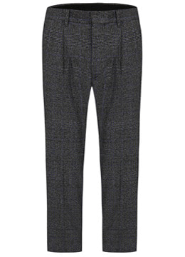 [Wool 100%] Check turn up pants  - charcoal blue