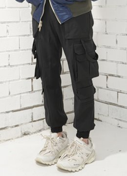 [Wool 100%] Multi pocket  cargo jogger pants