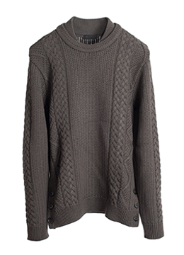 Multi twisted side button knit-wood brown