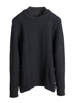 Multi twisted side button knit-charcoal