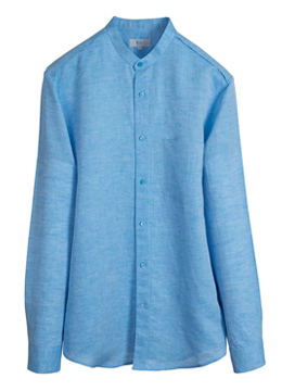 Linen chinese collar square pocket shirts-Bluish mint - 40% SALE !!!!