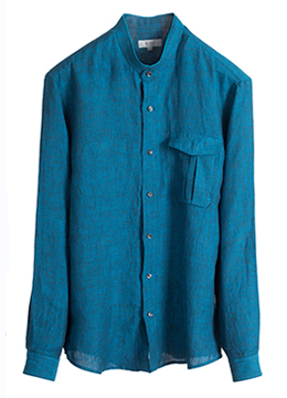 [40% sale] Added collar flap pocket shirts-Turquoise