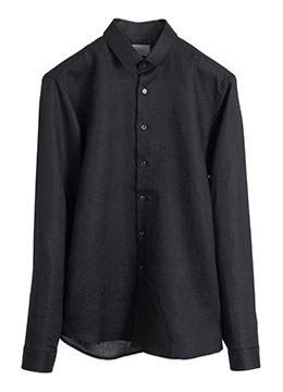 Mini collar ramie shirts-jet black