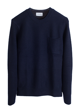 Square pocket round weaving knit-navy