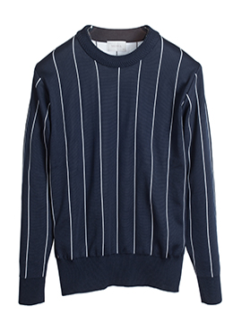 [Limited] Pin stripe poly knit-navy [품절임박]