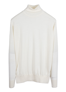 [Sale] Micron 18.0 48's wool 100% polo neck-ivory