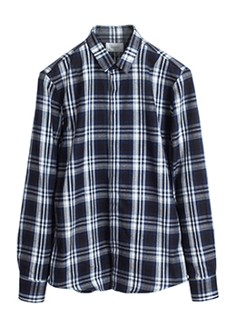 Edge slim collar hidden flannel shirts-midnight blue
