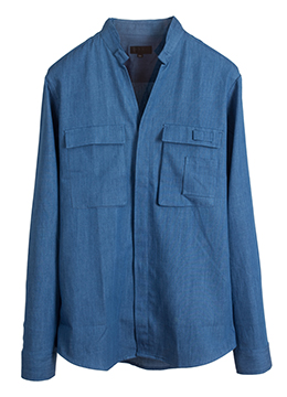 2pocket chinese collar utility Denim shirts- mid blue-  40% SALE!!!!!