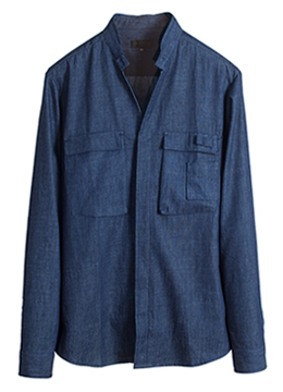 2pocket chinese collar utility Denim shirts- deep blue-  40% SALE!!!!!